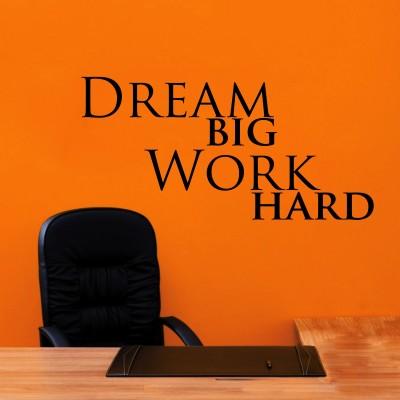 Dream Big Work Hard Three Wall Sticker Decal 3-Small-Black