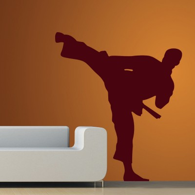 Karate Man Wall Sticker Decal-Small-Burgundy