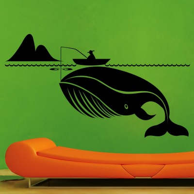 Man Fishing Whale Wall Sticker Decal-Small-Black
