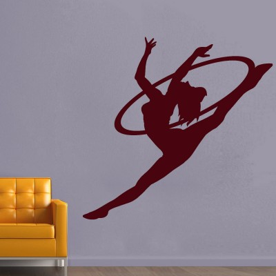 Gymnast Lady Wall Sticker Decal-Small-Burgundy