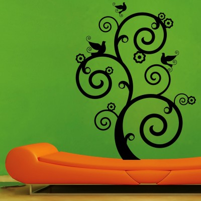 Swirl With Birds 1 Wall Sticker Decal-Small-Black