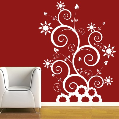Floral Swirls Wall Sticker Decal-Small-White