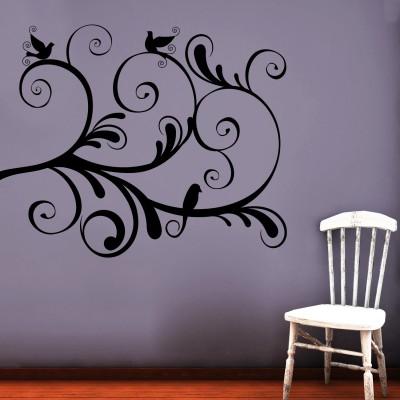 Swirl With Birds 2 Wall Sticker Decal-Small-Black