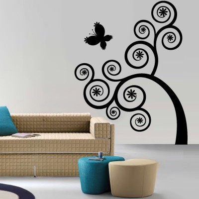 Curly Swirls Wall Sticker Decal-Small-Black