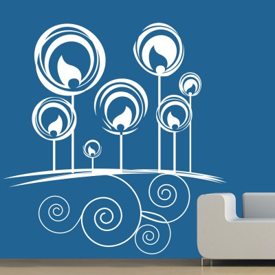 Petal Swirls Wall Sticker Decal-Small-White