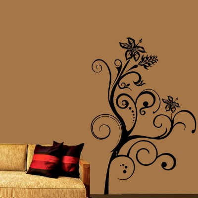 Floral Curls 1 Wall Sticker Decal-Small-Black