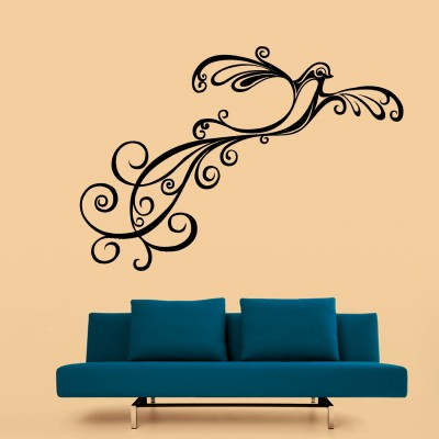 Curly Bird Wall Sticker Decal-Small-Black