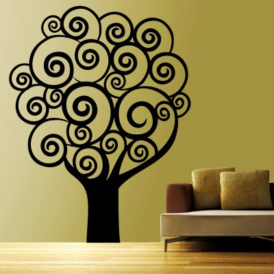 Swirl Tree 1 Wall Sticker Decal-Small-Black