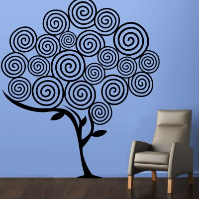Swirl Tree 2 Wall Sticker Decal-Small-Black