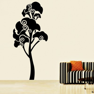 Swirl Tree 3 Wall Sticker Decal-Small-Black