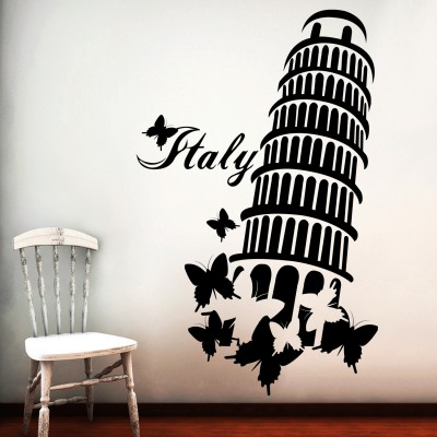 Leaning Tower Wall Sticker Decal-Small-Black