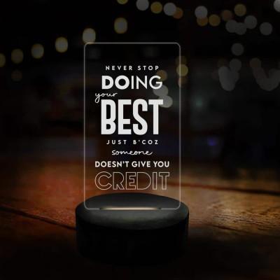 3D LED Never Stop Motivational Lamp